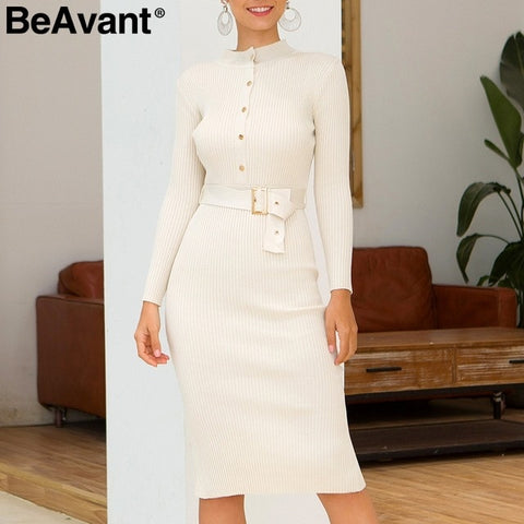Elegant high waist knitted Sexy o neck Long Sleeve Dresses