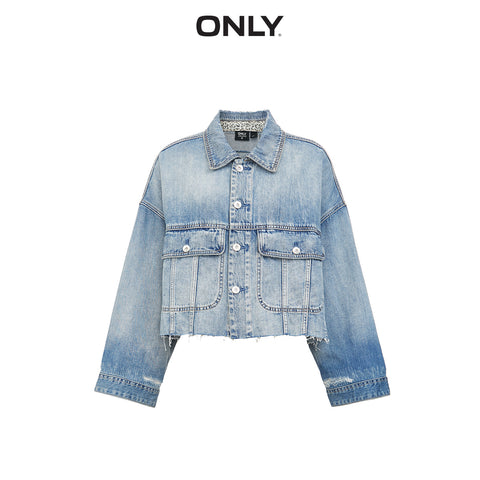 Short Loose Fit Raw edge Denim Jacket