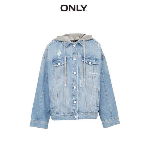 Loose Fit Printed Ripped Denim Jacket