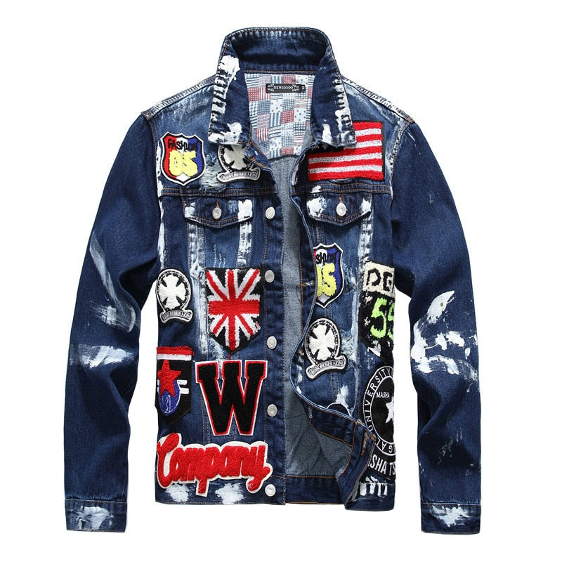 Flag Letters Patch Design Painted Denim Jacket