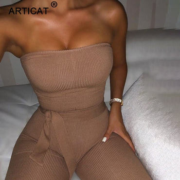 Cotton Knitted Sexy Off Shoulder With Belt Jumpsuits