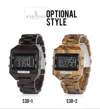 Multi-Function LED Electronic Luxury Wood Watches