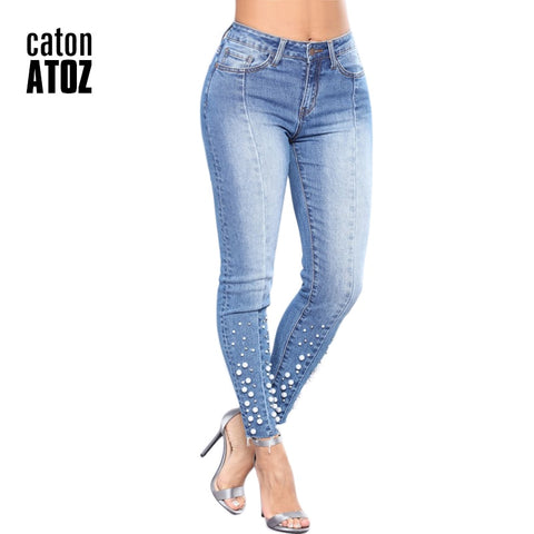 Cotton Pearl Ripped Skinny Jeans