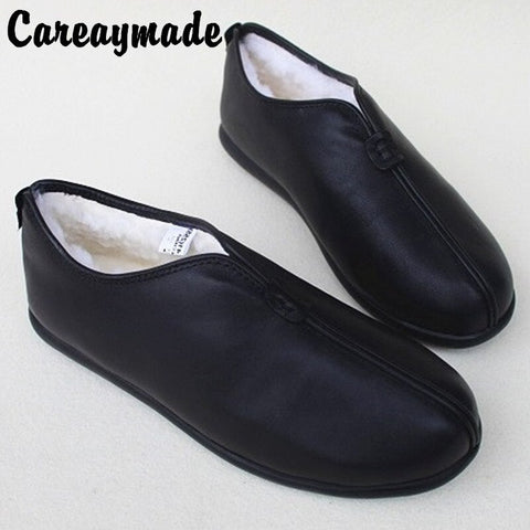 handmade head layer leather sheepskin wool one leather casual retro Flat shoes