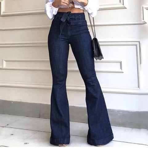 High Waist Flare Dark Blue Skinny Sexy Vintage Flared Bell Bottom Jeans