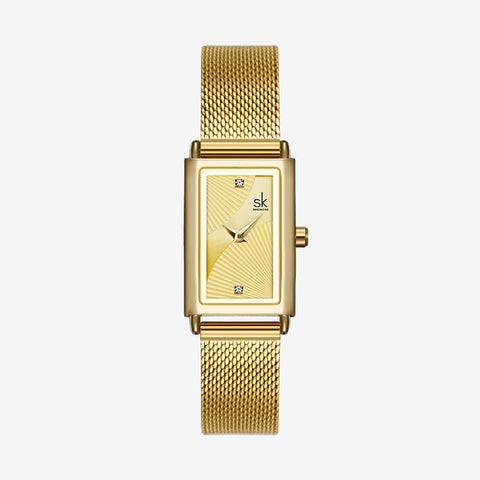 Unique Square Rose Gold Minimalism Casual Dress Watch