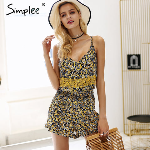 V neck strap print ruffle backless sexy Boho Bohemian Rompers
