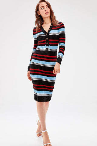 Multicolour Stripe Button Detail Sweater Dresses