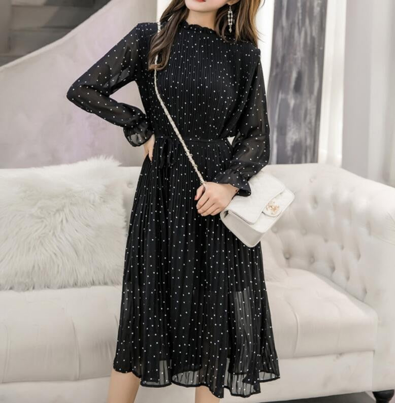 Long Sleeves Polka Dots Black Chiffon Pleated Midi Dress