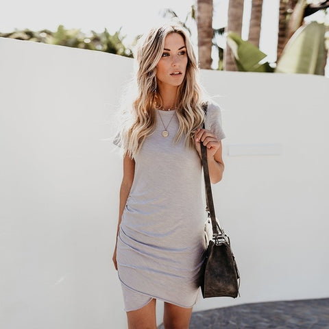 Sexy Short Sleeve Solid Casual Dress