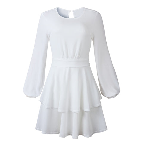 Ruffles Tunic Elegant Sexy Backless Belt White Black Gray A Line Knitted Sweater Dress