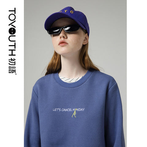 Candy Color Long Sleeve Chic Style Letter O neck Sweatshirts