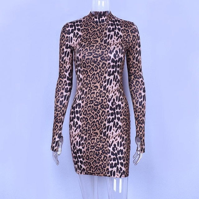 Long Sleeve O Neck Leopard Dresses