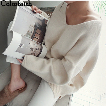 V-Neck Long Sleeve Tops Minimalist  Knitting Casual Pink Sweaters