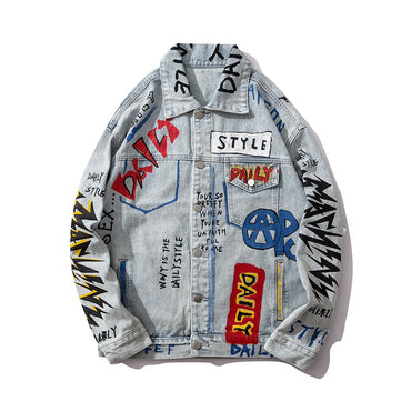 Graffiti Letter Print Loose Casual Men Denim Jackets