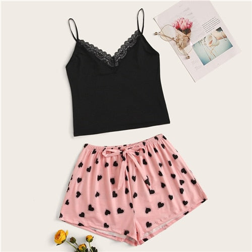 Lace Trim Cami Black Top With Heart Pink Shorts Sexy Sleeveless Sleepwear