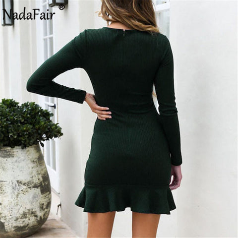 Long SleeveRuffles Sexy Wrap O Neck Solid Mini Casual Dresses