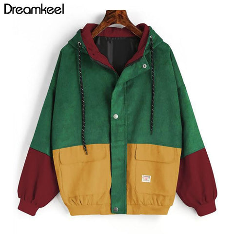 Color Patched Pocket Color Block Hooded Corduroy Jacket