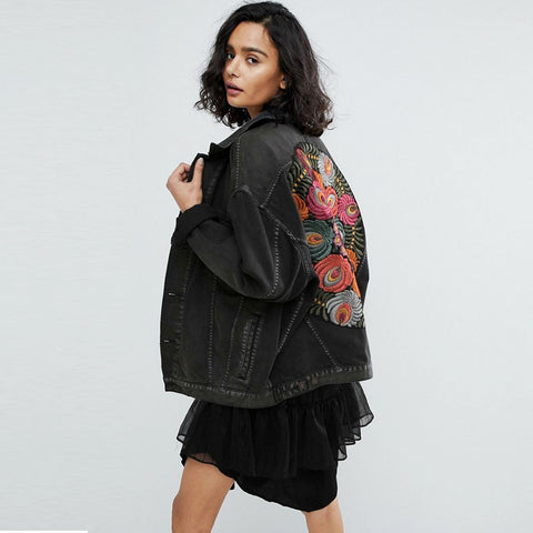 Embroidered black casual bohemian jacket coat