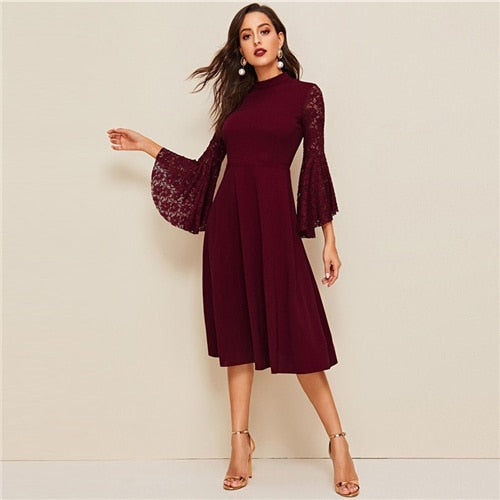 Burgundy Contrast Lace Flounce Sleeve Party Dress