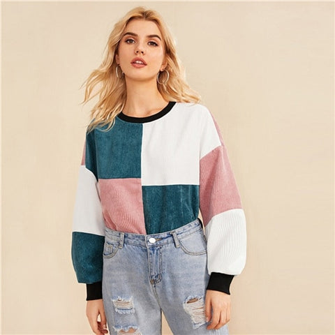 Contrast Neck and Cuff Colorblock Sweatshirt