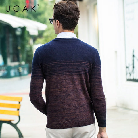 Merino Wool Thick Cashmere Gradient Color Sweater
