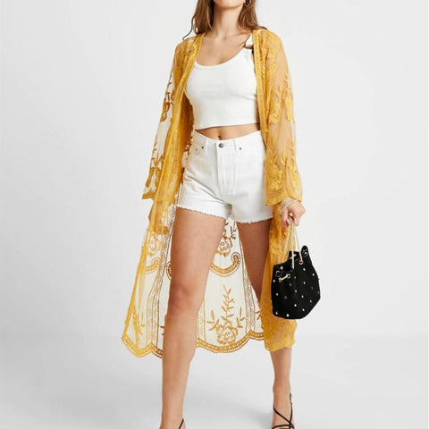 Flower Lace Cardigan Long Sleeve Shawl Kimono