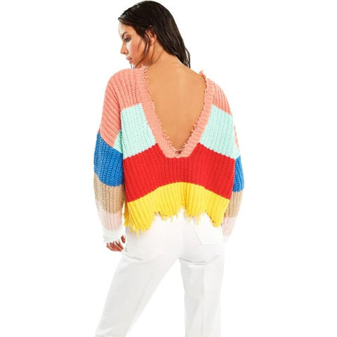 Colorful Stripe Long Sleeves Boho Bohemian Sweaters