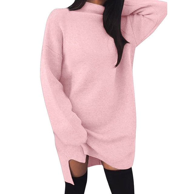 Casual Loose Knit Sweater Solid Color High Collar Long Sleeve Dresses