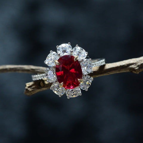 Vintage Sterling Silver Created Moissanite Ruby Gemstone Ring