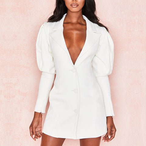White Lantern Sleeve Deep V Notched Single Breasted Blazers Dress