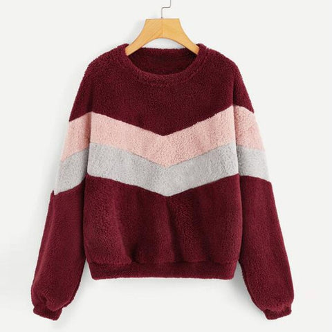 patchwork Fluffy Flannel long sleeve Sweatshirts
