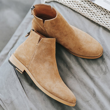 Casual Ankle Zip Genuine Leather Chelsea Boots