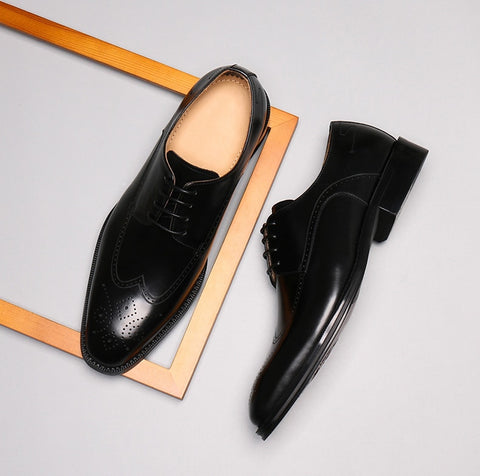 Genuine Leather Brogue Business Oxford Shoes