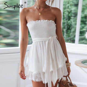 Off shoulder ruched linen tassel white cotton romper