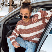 Striped Long Sleeve Slim Jumper Knitwear Brown Basic Boho Bohemian Sweaters