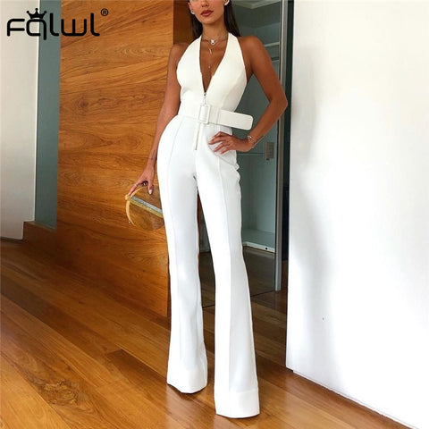 Halter Wide Leg Sexy Sashes Backless White Skinny Jumpsuits