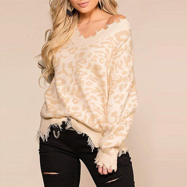 Leopard Print Ripped V Neck Distressed Knit Sweater