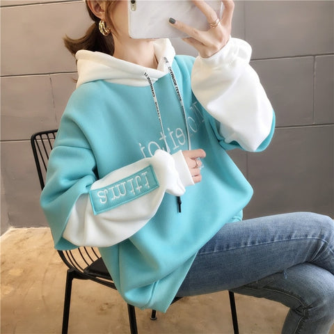 Cotton embroidery letter Casual Harajuku Oversized Hoodies