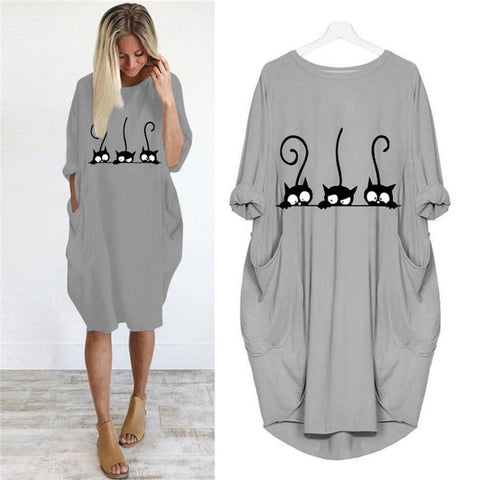 Cute Cat Printing Pocket Loose Casual Dresses