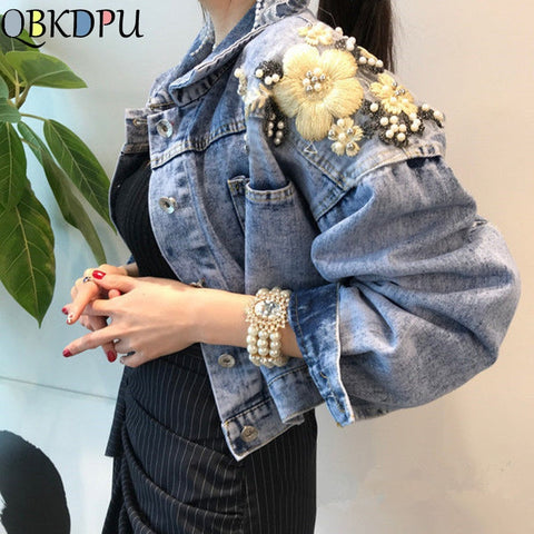 Embroidery Butterfly Pearl Bead Short Denim Jackets