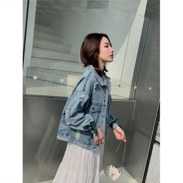 Embroidery Flower Lace Vintage Elegant bow Cowboy Loose Denim Jackets