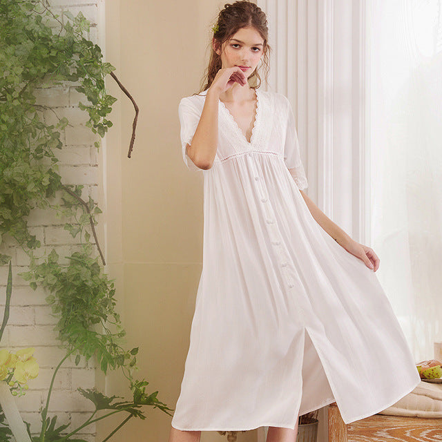 White Sexy Sleepwear Nightdress