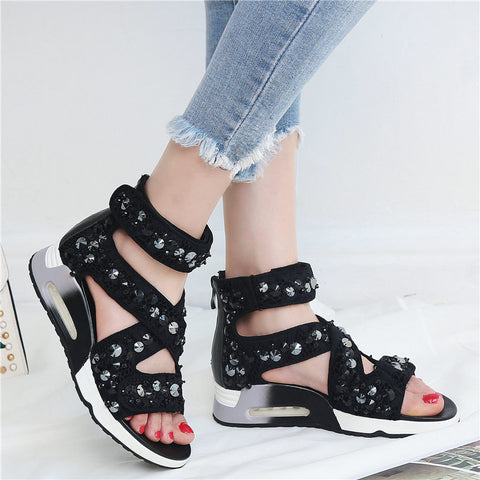 Black Genuine Leather Wedges Platform Roman Gladiator Sandals