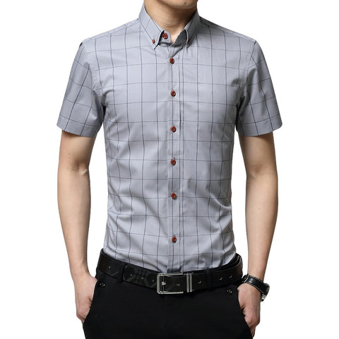 Cotton Social Plaid Checked Short Sleeve Shirts
