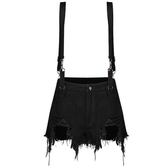 Punk with Suspender Black Gothic Young Girl Personality Sexy Short Denim