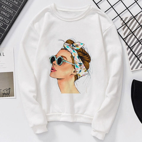 Causal Letter Vogue Girl Printed Long Sleeve Sweatshirts