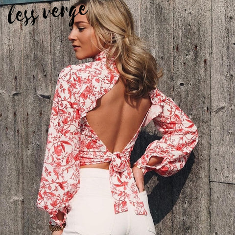 Floral backless sexy Long sleeve turtleneck Bohemian Blouse Shirts