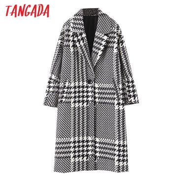 Thick Plaid Pattern Loose Long sleeves pocket coat