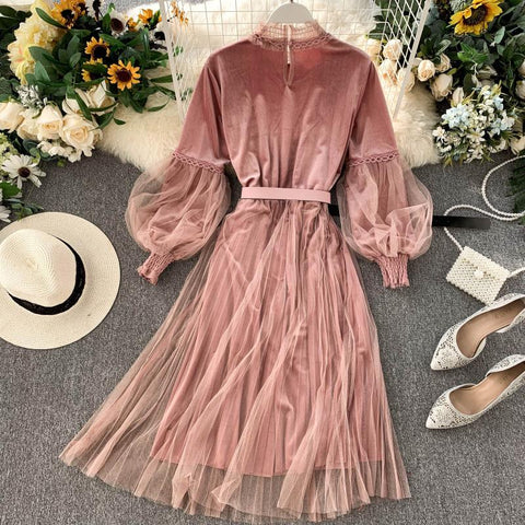 Romantic Lace Pink Elegant Long Lantern Sleeve Gothic Vintage A Line Midi Dress